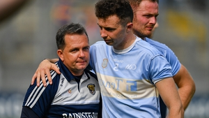 Davy Fitzgerald (L) and Rory O'Connor after the defeat to Tipperary