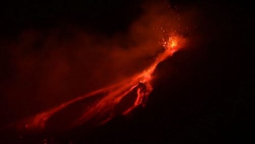 The 3,330 metre high volcano often erupts but rarely causes damage