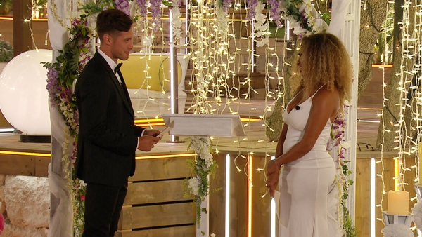Greg and Amber during the Love Island finale