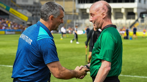 Tipp manager Liam Sheedy shakes hands with referee Seán Cleere