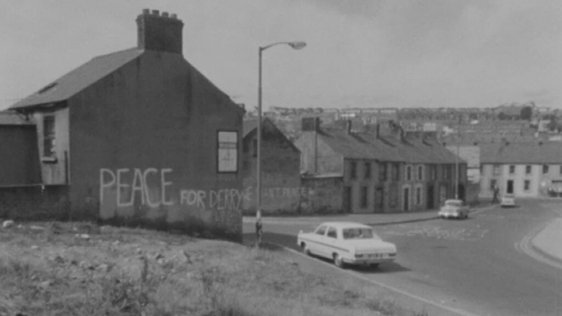 Peace sign on wall, Derry (1969)