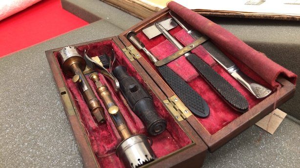 Trepanning kit from the 19th Century - used for making a hole in patient's head