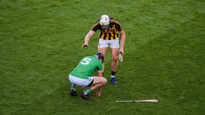 Kilkenny's Liam Blanchfield of consoles Diarmaid Byrnes at the end of the All-Ireland hurling semi-final