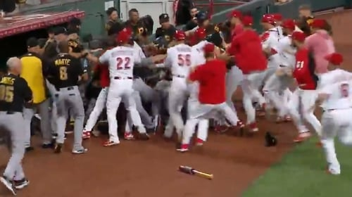 A bench-clearing row broke out in the ninth when Reds reliever Amir Garrett charged the Pittsburgh dugout from the mound as he was being removed from the game.