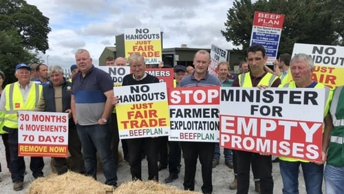 Some of the farmers protesting in Co Galway