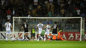 Jaime Romero opens the scoring for Qarabag against Dundalk in Baku