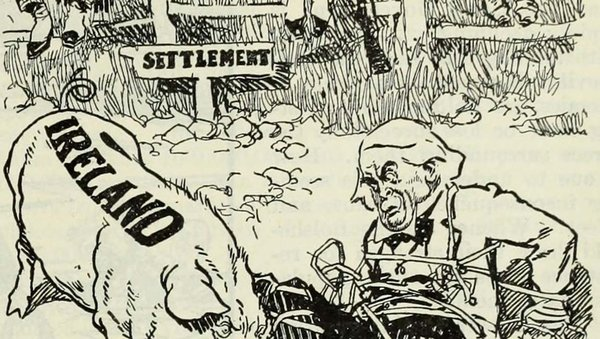 A cartoon shows Lloyd George tangled up by the Irish Question