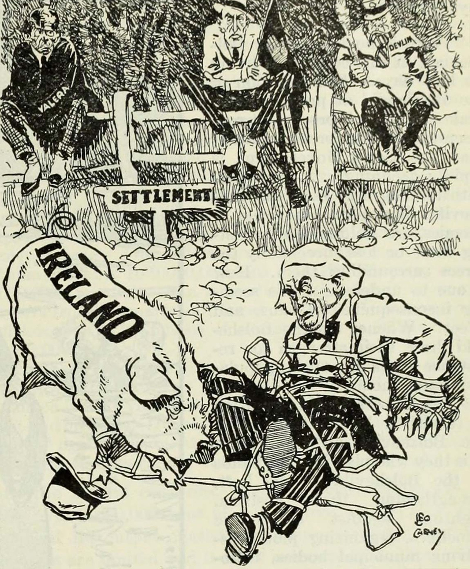 Image - Cartoon showing Lloyd George being tangled up by the Irish question, with Éamon de Valera, Edward Carson and Joseph Devlin looking on. Photo: Literary Digest, 10 August 1919