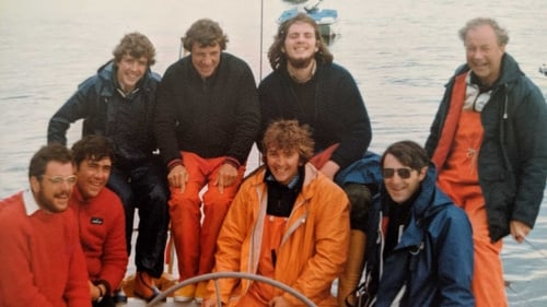 John O Donnell and the crew of Sundowner after the Fastnet Race 1979