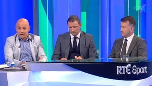 Cusack (r) on the panel with Derek McGrath (l) and Brendan Cummins