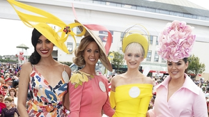Head turning fashion at Ladies Day. Photo: Andrew Downes