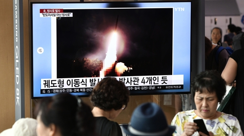 South Koreans watch on as North Korea tests third missile in eight days