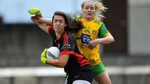 Shannon Lynch (L) in action against Donegal