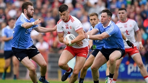 Richard Donnelly of Tyrone in action against Jack McCaffrey, and Philly McMahon during last year's Super 8s clash