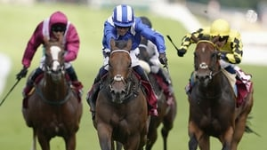 Jim Crowley riding Battaash (blue) en route to victory in the King George Qatar Stakes at Goodwood