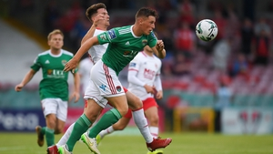 Dan Casey of Cork City in action against Dean Clarke of St Patrick's Athletic