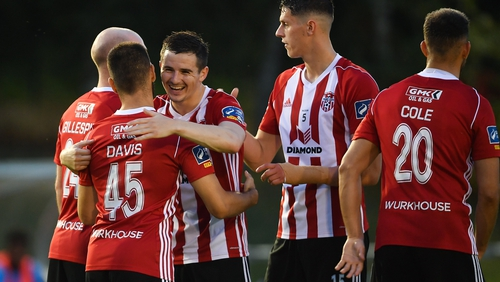 Derry City's Conor Davis is congratulated after he found the net