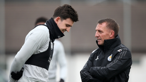 Leicester boss Rodgers with Maguire
