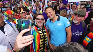 Leo Varadkar posed for photographs with many of those taking part in the parade