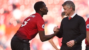 Ole Gunnar Solskjaer (R) with Paul Pogba