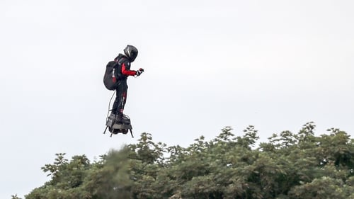 Franky Zapata comes in to land in Dover after his trip across the English Channel