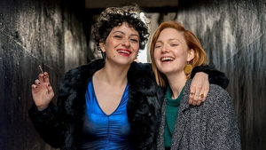 Alia Shawkat and Holliday Grainger on the Dublin tiles in Animals