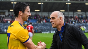 Roscommon manager Anthony Cunningham congratulates Colin Compton after the win over Cork