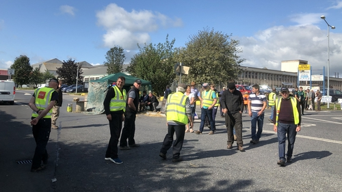 Protests at the Dawn Meats plant in Grannagh yesterday