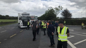 Trucks being blocked from entering the Dawn Meats property at Grannagh