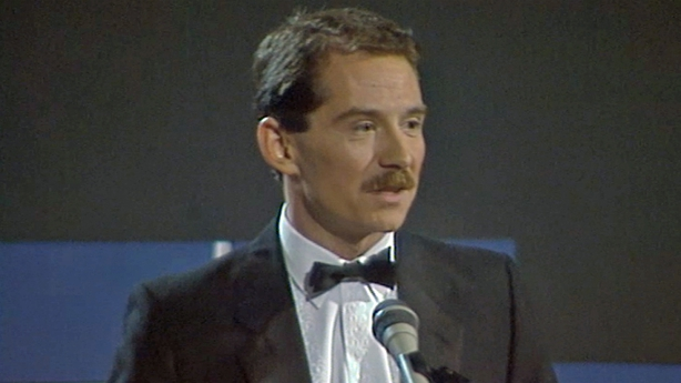 Vincent Hanley, presenter of the Stag/Hot Press Awards (1984)