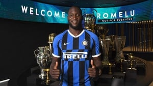 Romelu Lukaku poses in his new Inter Milan shirt