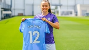 Toland says it is a dream come true to sign her first professional contract. Picture credit: Twitter/@ManCity