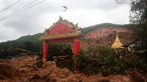 Sixteen homes and a monastery were covered in the mudslides