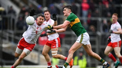 Sean O'Shea of Kerry and Tyrone's Matthew Donnelly in action during this year's league clash between the sides