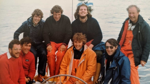 John O Donnell and the Crew of Sundowner after the Fastnet Race, 1979