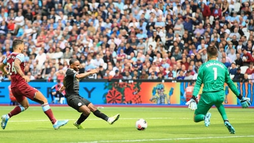 Manchester City's Raheem Sterling scored three and had a goal disallowed