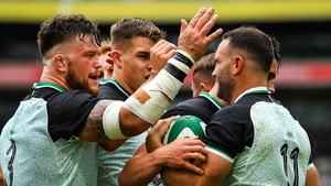 Ireland celebrate a try