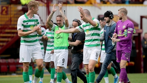 Celtic celebrate after the final whistle