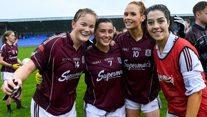 Galway's Sarah Connrally, Charlotte Cooney, Olivia Divolly and Lisa Murphy celebrate victory over Waterford