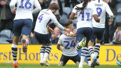 Sean Maguire celebrates his goal