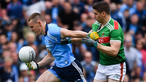 Con O'Callaghan breaks away from Lee Keegan on his way to a goal