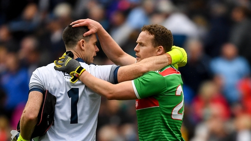 Veterans Stephen Cluxton and Andy Moran share a moment after the game