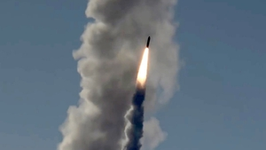The missile was being tested on a platform at sea when its fuel caught fire and triggered an explosion (file picture)