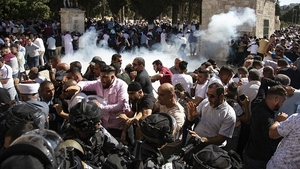 Police fired sound grenades as Palestinian protests intensified at the highly sensitive Al-Aqsa mosque compound