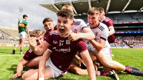 Galway players celebrate at the final whistle