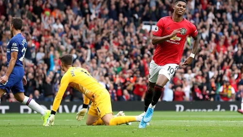 Manchester United's Marcus Rashford celebrates his side's third goal