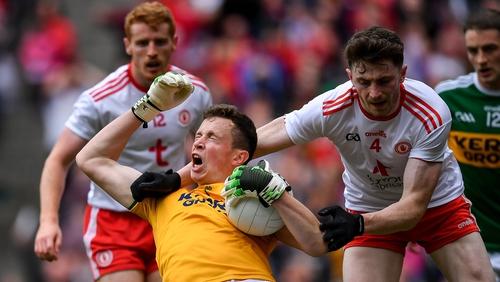 Kerry's goalkeeper Shane Ryan under pressure against Tyrone