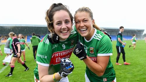 Mayo players Emma Needham and Sarah Rowe celebrate their quarter-final victory