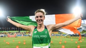 Natalya Coyle celebrating her sixth place finish at the Rio Olympics in 2016