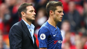 Frank Lampard manager of Chelsea and captain Cesar Azpilicueta